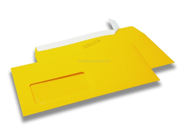 Butter cup yellow, coloured window envelopes Hello, 110 x 220 mm (DL), window on the left, windowsize 45 x 90 mm, windowposition 20 mm from the left / 15 mm from the bottom, peal and seal closure, 120 gram coloured paper