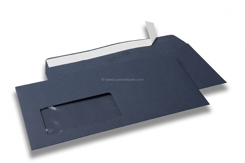 Dark blue, coloured window envelopes Hello, 110 x 220 mm (DL), window on the left, windowsize 45 x 90 mm, windowposition 20 mm from the left / 15 mm from the bottom, peal and seal closure, 120 gram coloured paper