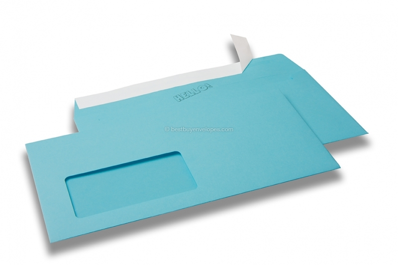 Sky blue, coloured window envelopes Hello, 110 x 220 mm (DL), window on the left, windowsize 45 x 90 mm, windowposition 20 mm from the left / 15 mm from the bottom, peal and seal closure, 120 gram coloured paper