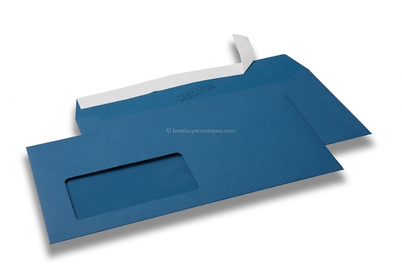 Royal blue, coloured window envelopes Hello, 110 x 220 mm (DL), window on the left, windowsize 45 x 90 mm, windowposition 20 mm from the left / 15 mm from the bottom, peal and seal closure, 120 gram coloured paper