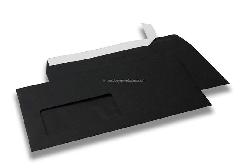 Black, coloured window envelopes Hello, 110 x 220 mm (DL), window on the left, windowsize 45 x 90 mm, windowposition 20 mm from the left / 15 mm from the bottom, peal and seal closure, 120 gram coloured paper