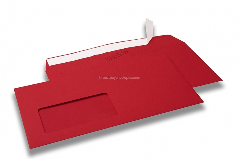 Red, coloured window envelopes Hello, 110 x 220 mm (DL), window on the left, windowsize 45 x 90 mm, windowposition 20 mm from the left / 15 mm from the bottom, peal and seal closure, 120 gram coloured paper