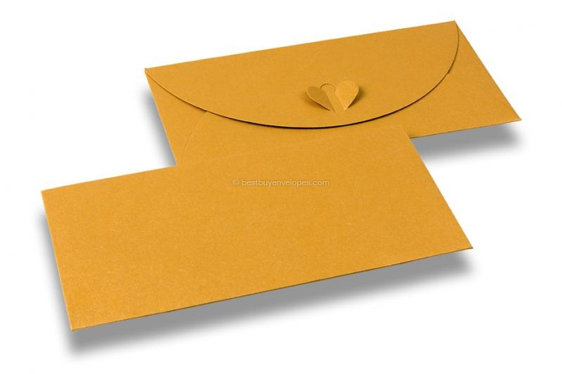 Envelopes with heart clasp - Yellow-gold