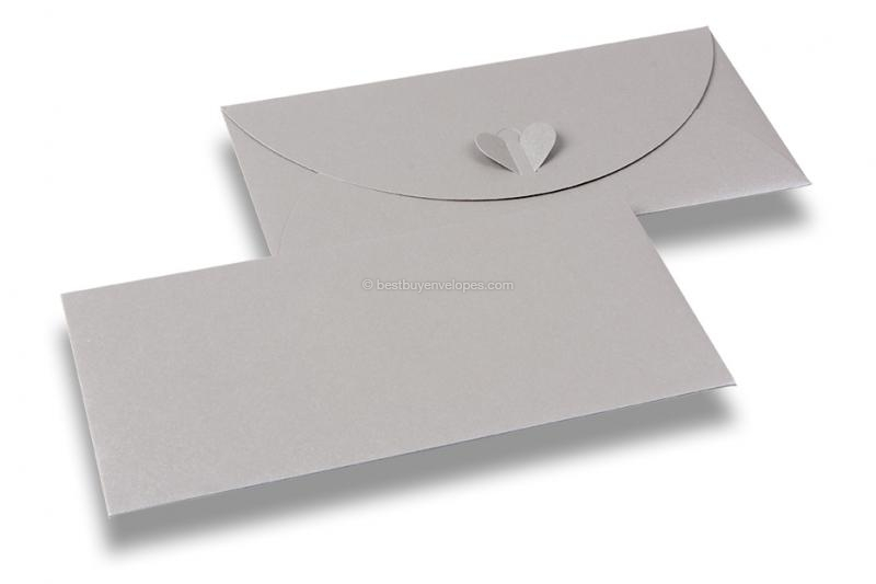 Envelopes with heart clasp - Silver-grey