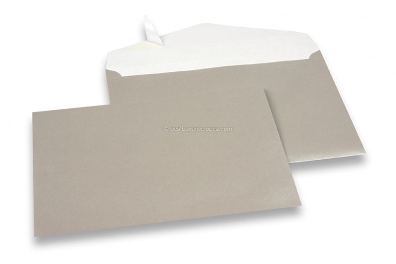 Silver coloured greeting card envelopes with seal strip