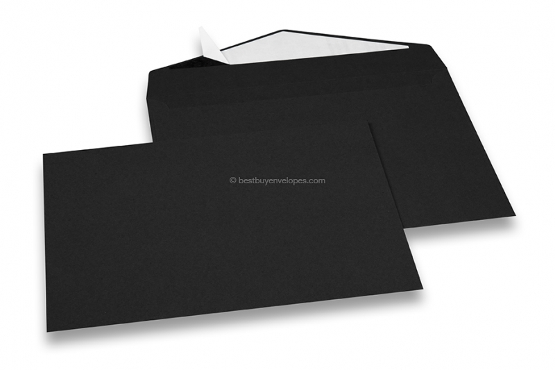 Black coloured greeting card envelopes with seal strip