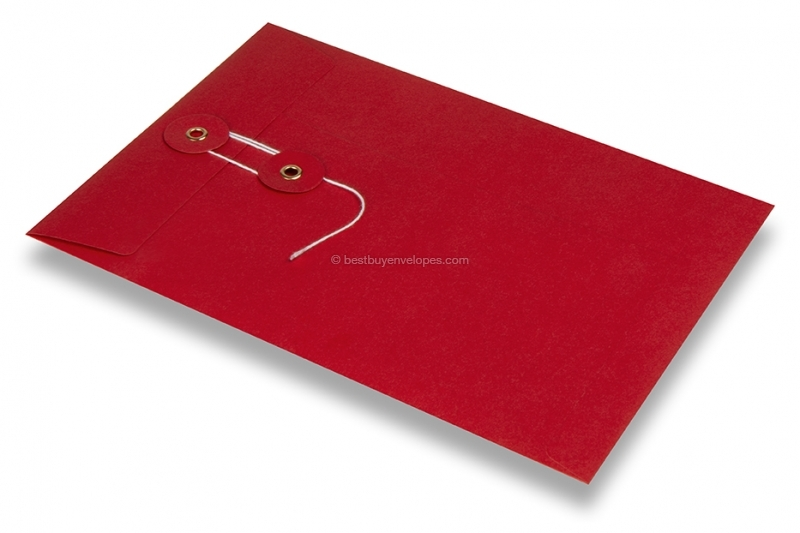 Envelopes with string and washer closure - red