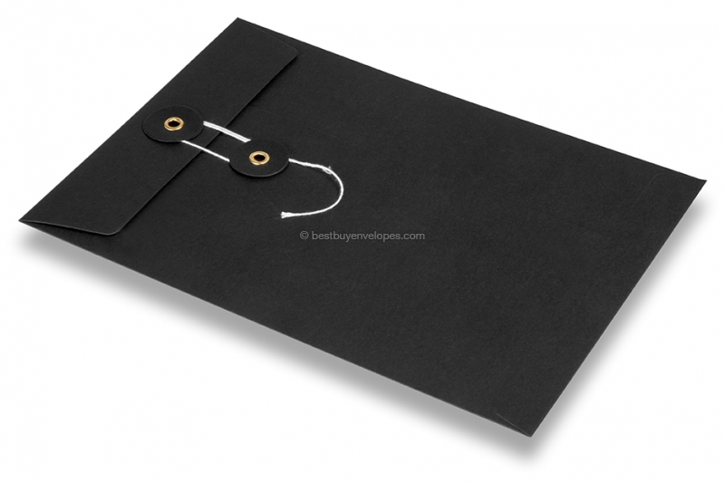 Envelopes with string and washer closure - black