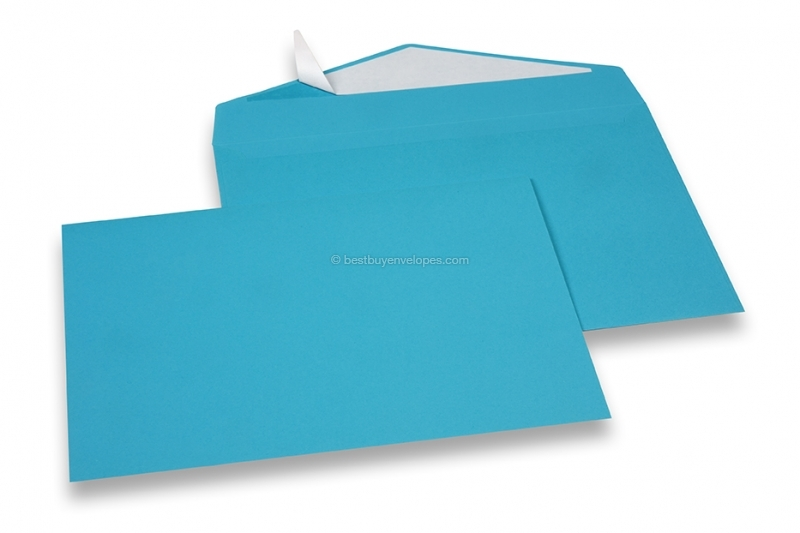 Blue coloured greeting card envelopes with seal strip