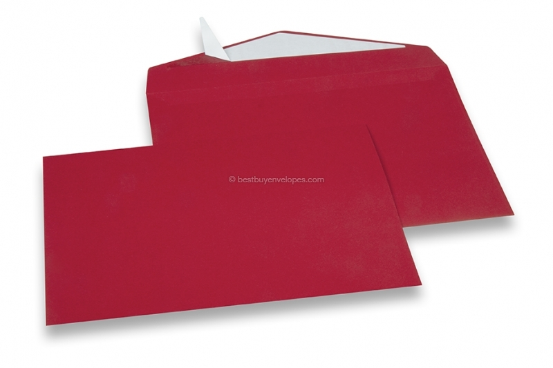 Dark red coloured greeting card envelopes with seal strip