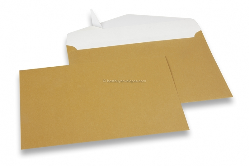 Gold coloured greeting card envelopes with seal strip