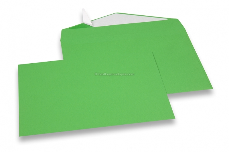 Green coloured greeting card envelopes with seal strip