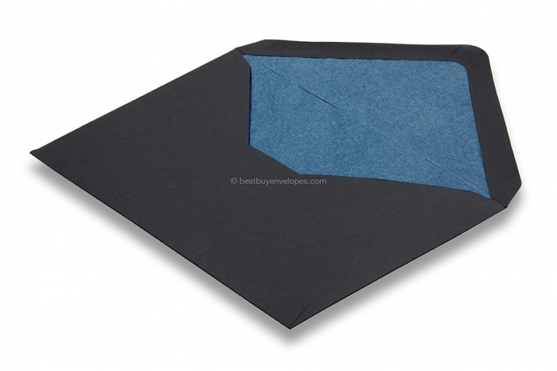 Lined black envelopes - blue lined