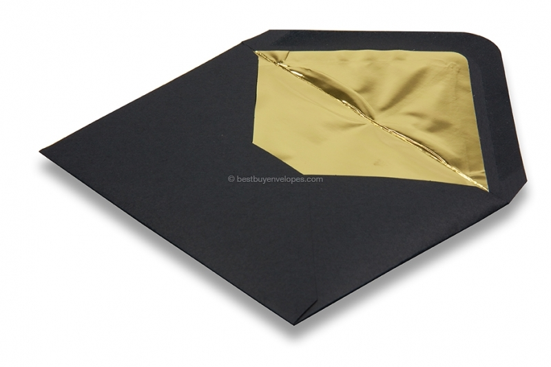 Lined black envelopes - gold lined