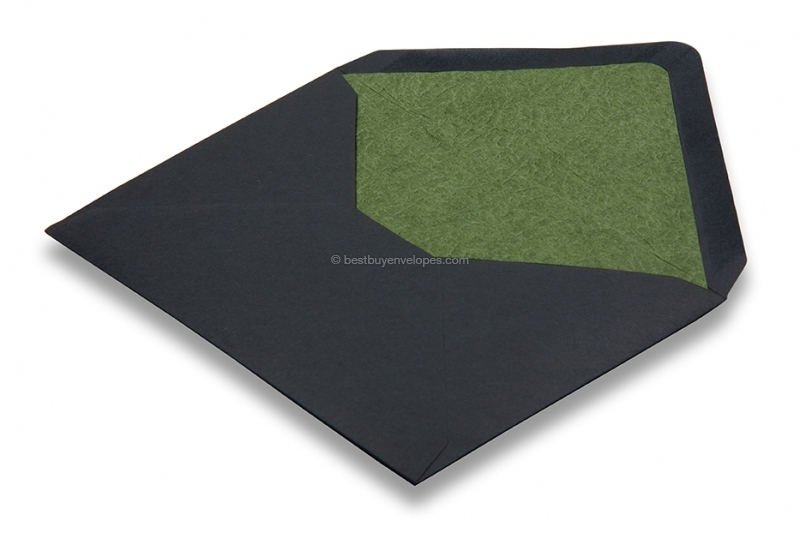 Lined black envelopes - green lined