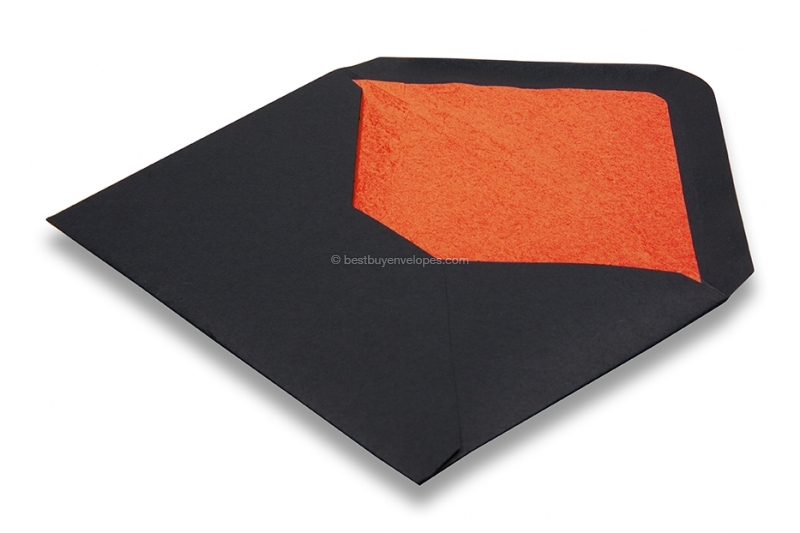 Lined black envelopes - orange lined