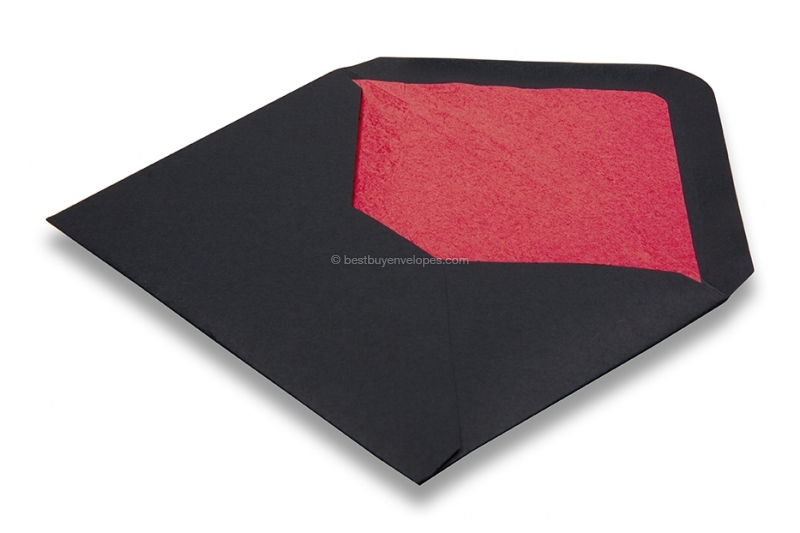 Lined black envelopes - red lined