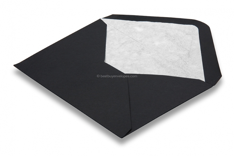 Lined black envelopes - white lined