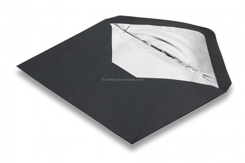 Lined black envelopes - silver lined