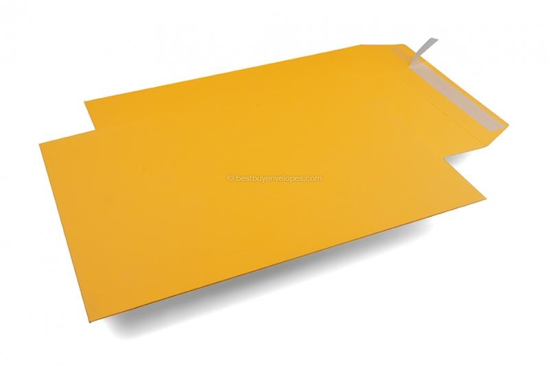 Yellow matt coloured cardboard envelopes