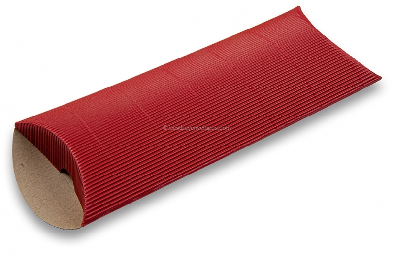 Red coloured ribbed pillow boxes