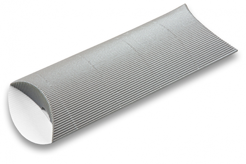 Silver coloured ribbed pillow boxes