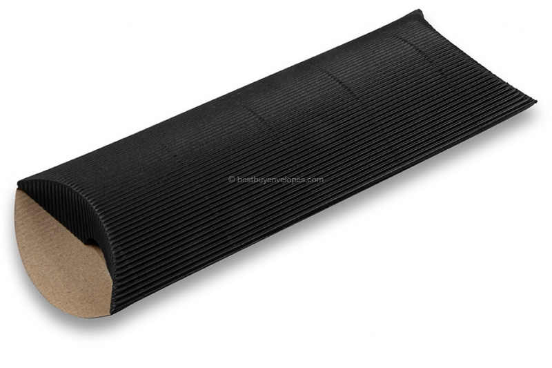 Black coloured ribbed pillow boxes