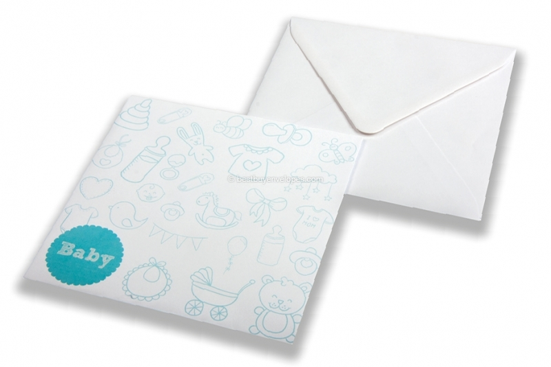 Birth announcement envelopes - White + baby blue