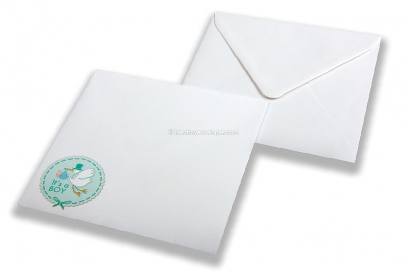 Birth announcement envelopes - White + It's a boy
