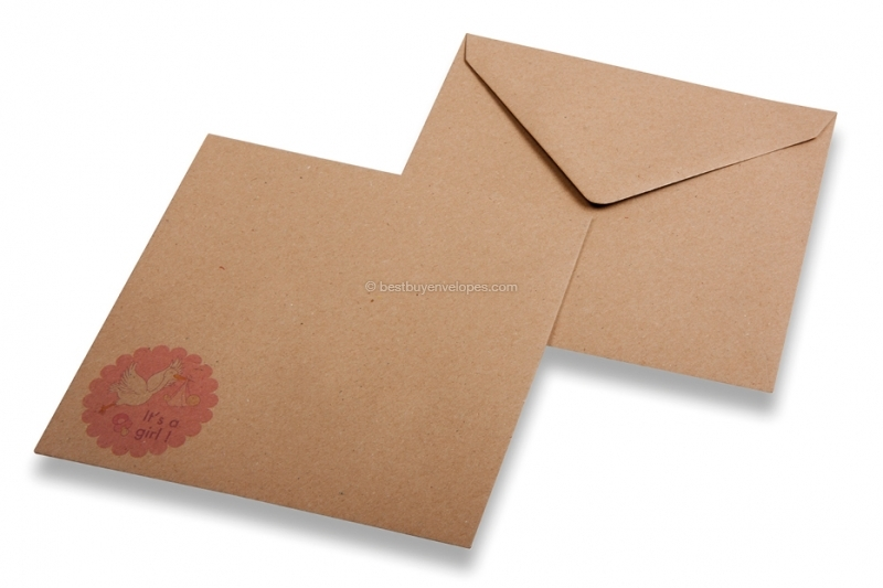 Birth announcement envelopes - Brown + it's a girl