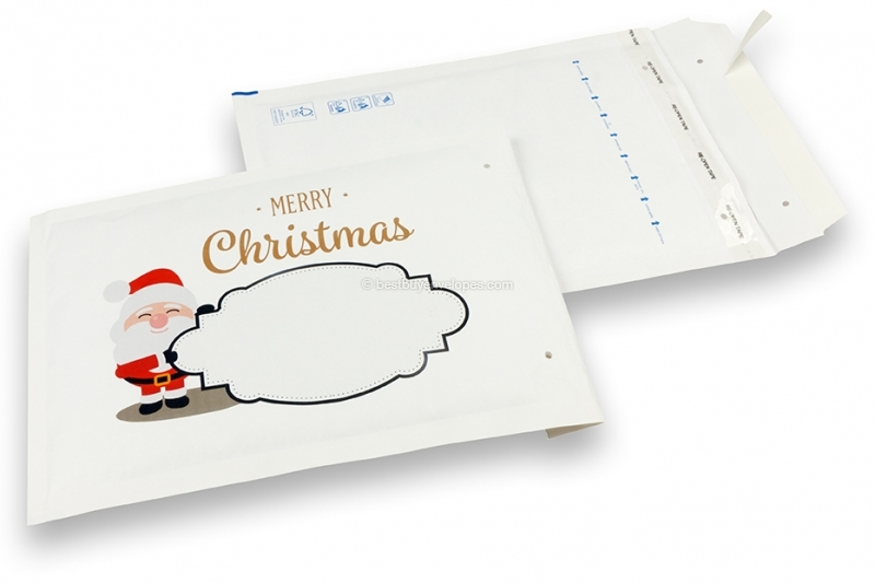 White Christmas bubble envelopes - Santa