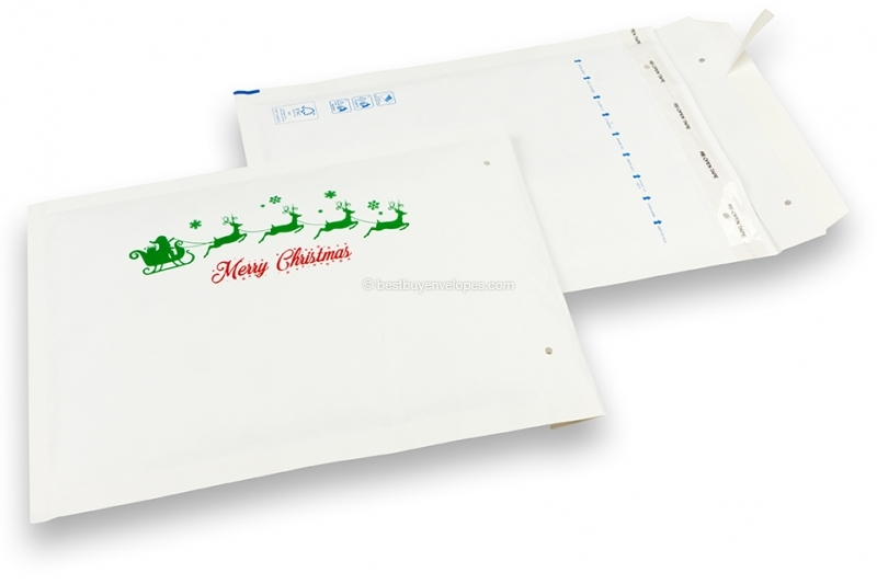 White Christmas bubble envelopes - Reindeer