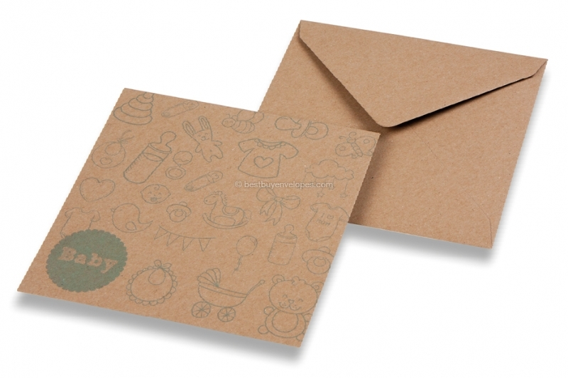 Birth announcement envelopes - Brown + baby blue