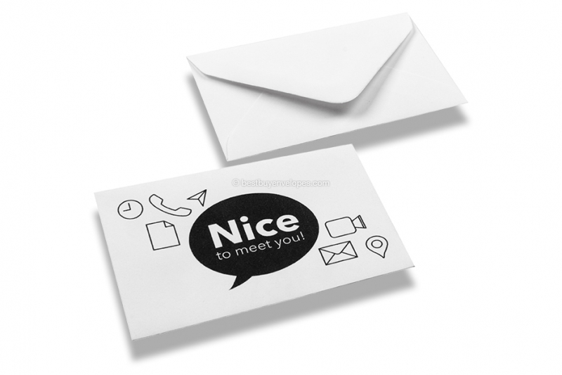 patterned business card envelopes patterned business card envelopes nice to meet you white - Business Card Envelopes
